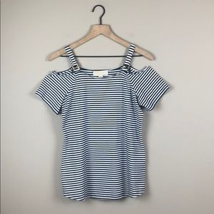 NWT Michael Kors Striped Cold Shoulder Top (Small)
